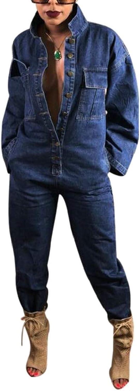 CromoncentCA Women's Denim Romper Playsuit Loose Fashion Clubwear Jumpsuit