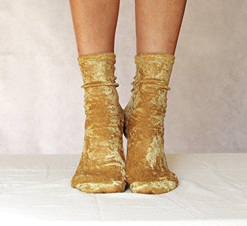 Velvet Socks. Golden Yellow Velour Handmade Women's Socks. Homemade Socks