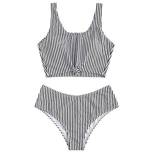 ZAFUL Women's Scoop Neck Tropical Leaf Knotted Two Pieces Tankini Set Swimsuit (Multi-D, XL)