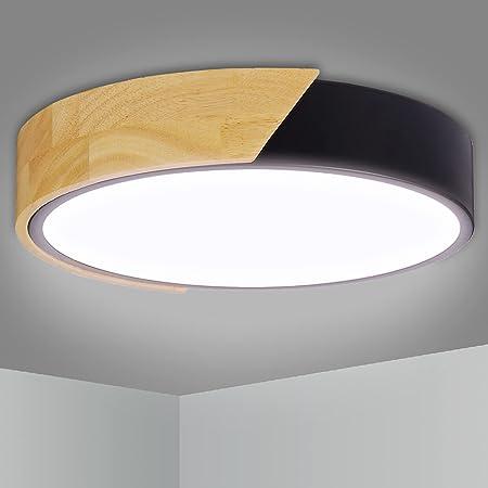 LED Plafonnier 24W 2400LM Kimjo, 6000K Blanc Froid Ø30*5CM En Bois Lampe de Plafond Rond, Lumière Éclairage Luminaire pour Chambre Salon Cuisine Couloir Hôtel