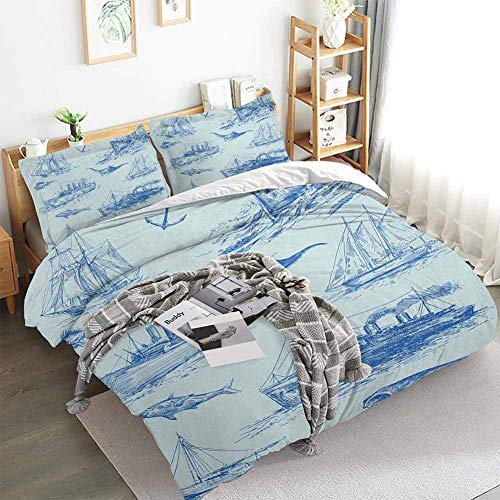 Nautical Duvet Cover Set,Nautical Underwater Wildlife Shark Ancient Boat Ships Navy Stormy Weather,Decorative 3 Piece Bedding Set with 2 Pillow Shams,California King(104'x98') Blue Baby Blue
