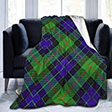 LodiSFOA Scots Style Clan Gunn Tartan Plaid Fleece Blanket Throw Lightweight Blanket Super Soft Cozy Bed Warm Blanket for Living Room/Bedroom All Season
