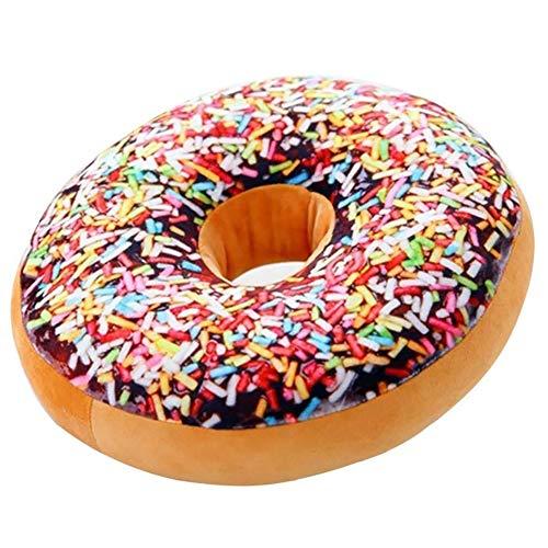 Peluche donut, Cojín redondo con divertido estampado en forma de donut, de felpa, para silla de oficina o asiento de coche (Flower World Donuts)