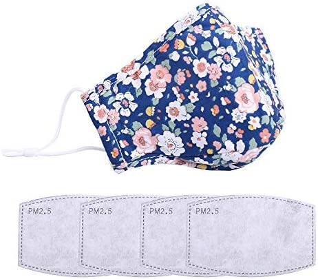 Fashionable,Reusable, Washable Facial Cotton Covering for Women- Includes 4Pcs Filters