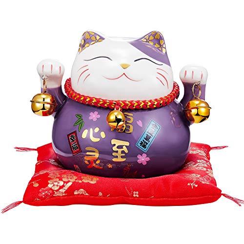 RandJ 4.5' Lucky Cat Manekineko with Two Bells Piggy...