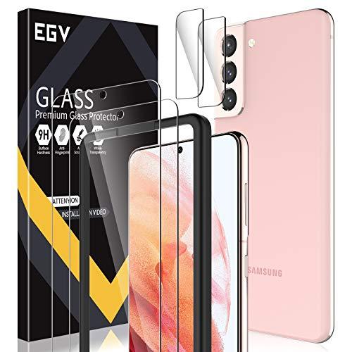 EGV Compatibile con Samsung Galaxy S21 Pellicola Protettiva,2 Pack Vetro Temperato e 2 Pack Pellicola Fotocamera
