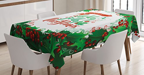 Ambesonne Christmas Tablecloth, Have a Happy Jolly Christmas Lettering with Red Berries Framework Print, Rectangular Table Cover for Dining Room Kitchen Decor, 60