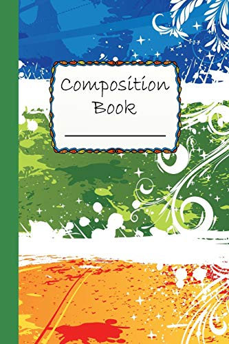 Composition Book: Abstract Three Color Design Composition Book - Wide Ruled Book - blue, green and orange decoration
