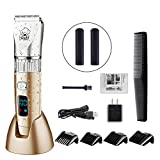 HATTEKER Dog Grooming Clippers Cordless Pet Hair Clippers Trimmer Waterproof Professional Gomming Kit Hair Clipper Set For Dogs Cats Pets Quite USB Rechargeable