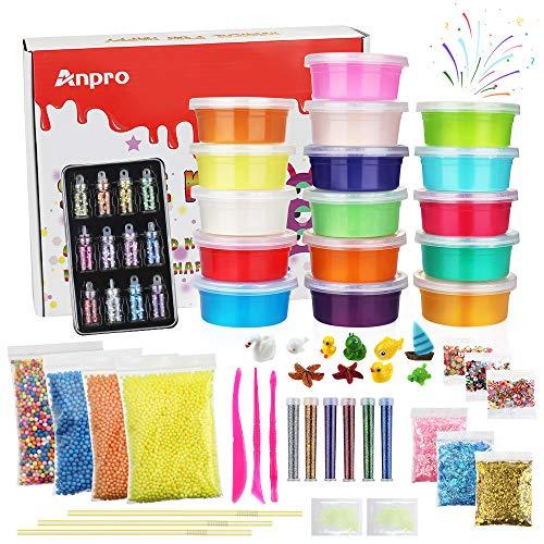 Anpro 16 Colores DIY Slime Kit,46 Accesorios,Kit Manualidades para Adultos y Niños, Manualidades de Bricolaje con Polvo Luminoso, Lentejuelas, Bolas de Espuma, Arcilla de Cristal Estirable