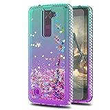 LG Tribute 5 Case,LG Escape 3/ LG Treasure/LG Phoenix 2 Cases with HD Screen Protector,KaiMai Glitter Moving Quicksand Clear Cute Shiny Phone Case for LG K7-Aqua/Purple