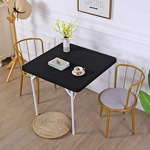 JISEN Cocktail Square Table Top Cover Spandex Fitted Stretchable Tablecloth Topper Cap 34x34 Inch E-Black