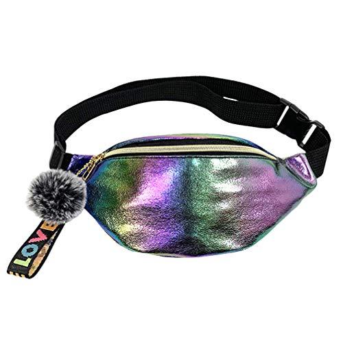 FENICAL Riñonera Holográfica de Cuero de Moda Brillante Bolsa de Cintura Bandolera Bolsa de Almacenamiento para Dama Mujer Niña Viajes Al Aire Libre (Colorido)