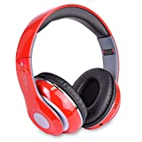 Altatac Bluetooth Rechargeable Over Ear Headset Foldable Wireless Wired Headphones with Memory Card Slot Built-in FM Tuner Microphone Audio Cable for Phone TV Computer MP3 Player - Red