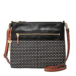 Fossil Women's Fiona PVC Large Crossbody Handbag, Black Stripe
