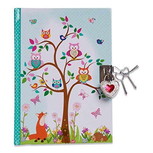 Lucy Locket Waldtiere Tagebuch mit Schloss für Kinder (Verschliessbares Tagebuch mit Schloss und Schlüsseln) Kindertagebuch mit Eulen- und Fuchs-Design