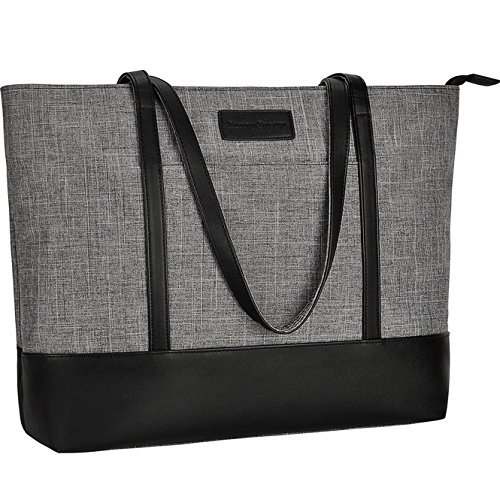 Laptop Tote Bag,Fits 15.6Inch Laptop,Womens Lightweight Water Resistant Nylon Tote Bag Shoulder Bag,Grey