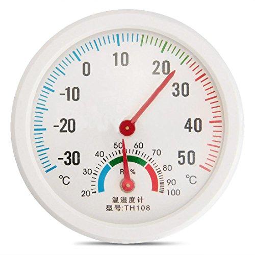 Witte Meter Vochtigheid Klokvormige Mini Binnen Buiten Hygrometer Thermometer