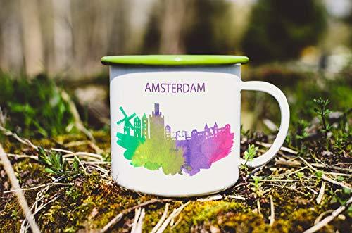 Emaille Mok Amsterdam City Camp Mok Aquarel Amsterdam Koffie Mok Tin Cup Nederland Mok Thee Cup Reizen Souvenir Mok 135 oz