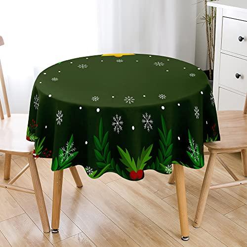 Hiseng Impermeable Antimanchas Mantel de Navidad Redondo, 3D árbol de Navidad Estampado Decoración del Hogar Poliéster Mantel de Mesa, para Banquete, Bodas, Fiestas, etc (Copo de Nieve,90cm)
