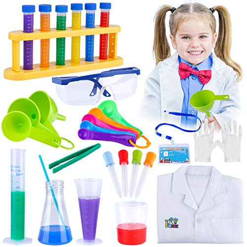 Giftinthebox Kids Science Experiments Kit with Lab Coat for Role Play, Kids Lab Coat, Science Lab Kit for Kids, Boys and Girls Christmas Gift Birthday Party