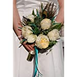 Modern Ivory Peony & Calla Lily Peacock Feather Bridal Bouquet