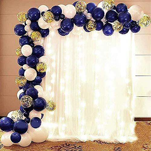 109 in 1 Birthday balloon decorations kit, navy blue white balloons, golden confetti sequin balloons, gorgeous latex balloon set, bling balloons