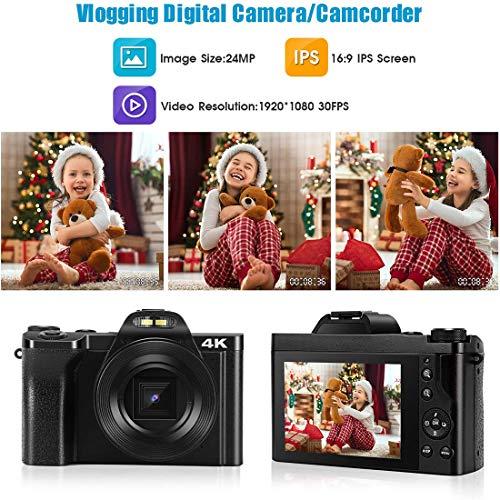 4K Digitalkamera Videokamera, 1080P 48MP WiFi YouTube Vlogging Kamera Camcorder mit 16x Digitalzoom und 3,5-Zoll-IPS Touchscreen, Makroobjektiv, Weitwinkelobjektiv, Blitzlicht, 2 Akkus - Schwarz