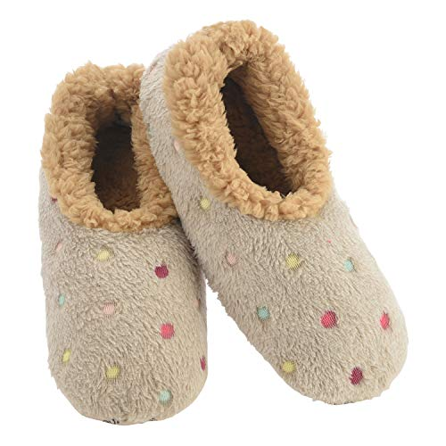 Snoozies Slippers for Women | Lotsa Dots Colorful Cozy Sherpa Slipper Socks | Womens House Slippers | Cozy Slippers for Women | Fuzzy Slippers | Sand | Large
