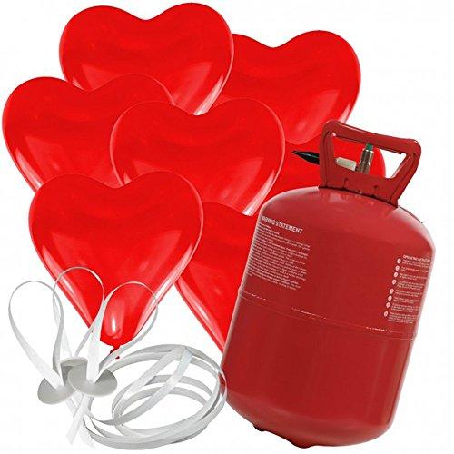 doriantrade 30 Herz Luftballons freie Farbwahl mit Helium Ballon Gas Hochzeit Valentinstag Komplettset (Rot)