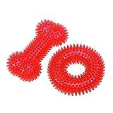 Balacoo Juguetes para gatos y perros, 2 piezas de juguete para perros Durable Molar Rod Dog Bite TPR Toy Coronule y forma de hueso para perros Mascotas Juguetes de entrenamiento (rojo)