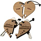Schlüsselanhänger - zweiteiliges Herz – Lieblingsmensch (mit Namen): optional mit Wunschnamen...
