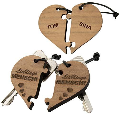 Schlüsselanhänger - zweiteiliges Herz – Lieblingsmensch (mit Namen): optional mit Wunschnamen personalisiert I Jahrestag Geschenk - Liebeserklärung für Lieblingsmenschen