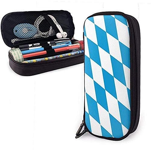 Estuche de lápices de cuero Bavaria Flag Square Blue Cosmetic Bag Bolso para bolígrafo con cremallera Papelería Bolsa
