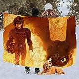 vjgdlz Fleece Blanket The Hidden World Throw Blanket Dorm Warm Living Room 3...