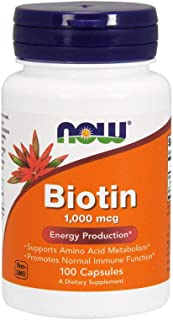 NOW Supplements, Biotin 1,000 mcg, Amino Acid Metabolism*, Energy Production*, 100 Capsules