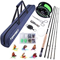 TOPFORT Fly Fishing Rod and Reel Combo, 4 Piece Lightweight Ultra-Portable Graphite Fly Rod 5/6 Complete Starter Package with Carrier Bag