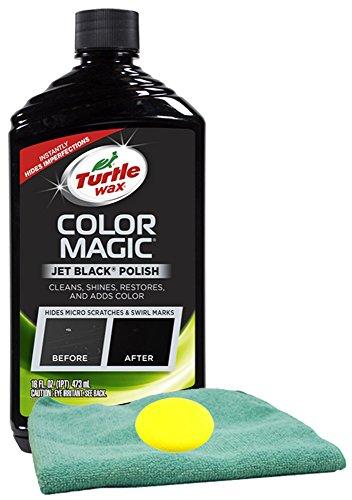 Turtle Wax Color Magic Black Car Polish (16 oz) Bundle with Microfiber Cloth & Foam Pad (3 Items)