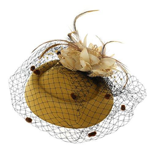 RG-FA Tocado para el pelo, pastillero, sombrero, bolos, velo de plumas, boda...