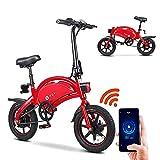 DYU Bicicleta eléctrica Plegable de 14 Pulgadas City E-Bike para Adulto, Motor 250 W, Velocidad de hasta 25 km/h, 40 km el Largo Alcance, 36 V, 10 Ah