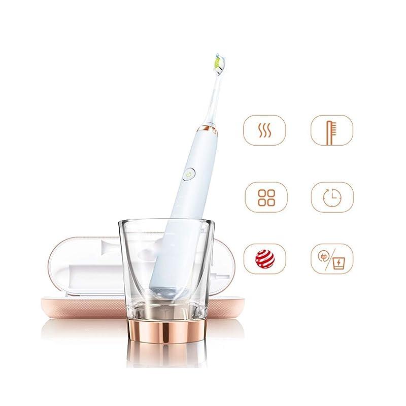 ファブリック動機しおれた電動歯ブラシ 大人の音波振動電動歯ブラシ付きブラシヘッド* 2 +充電トラベルケース+充電ガラスカップ