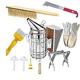 HunterBee 10 Stück Bienenzucht Werkzeug Set, Edelstahl Bienenstock Raucher Zubehör Set
