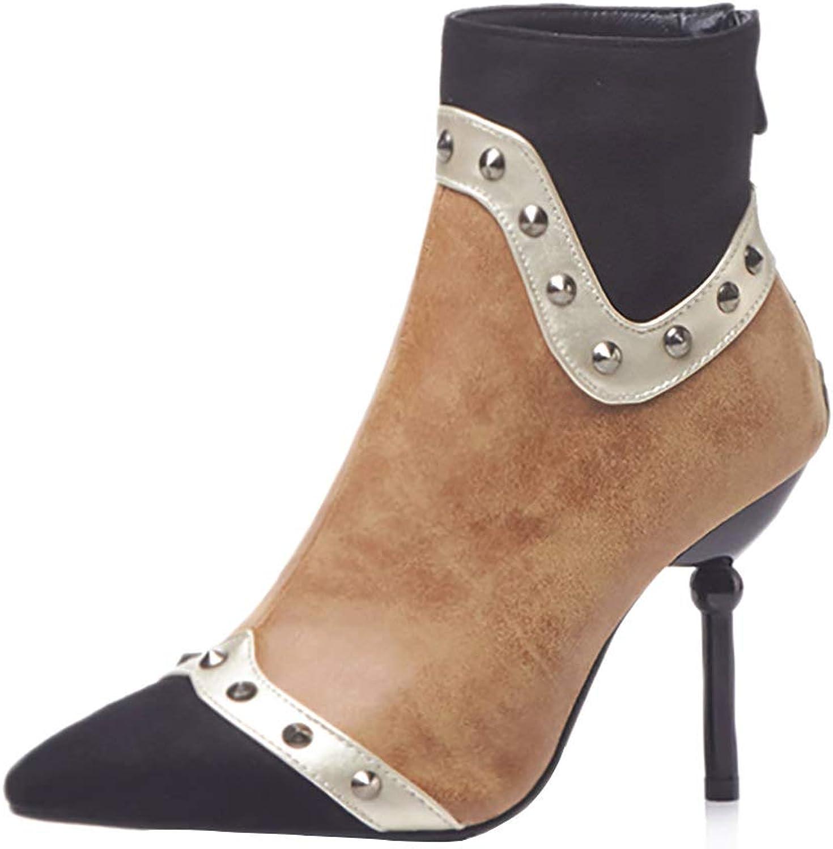 e4d575ea0233c MAYPIE Women's Fashion Toe Studded High Heels Zipper Stiletto Ankle ...