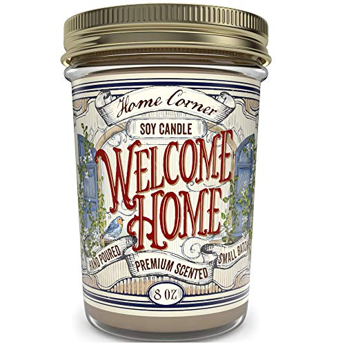Home Corner Candles - Welcome Home (Vanilla Latte Coffee) - Scented Soy Jar Candle - Housewarming Gifts, Presents & Home Décor - Hand Poured in the USA - Highly Scented & Long Lasting Burn Time - 8 oz