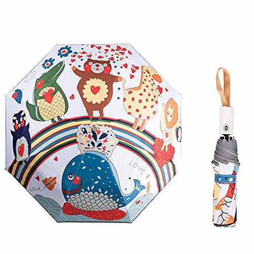 Automatic Umbrellas Fold Small Fresh Sunny Rainy Cartoon Sun Umbrellas Black Rubber Sunscreen UV Protection Wind Resistant Compact Lightweight Travels Small Black Umbrella With Reflective Strips