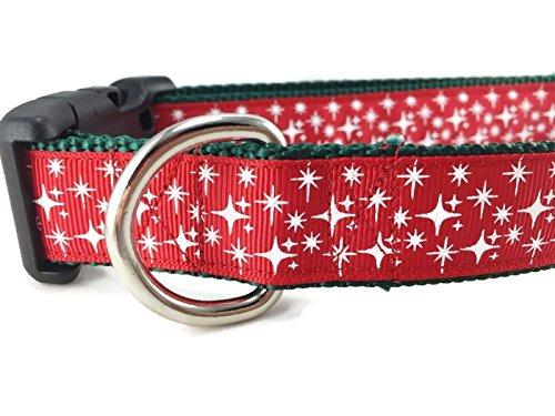 Caninedesign Hundehalsband, Weihnachtsmotiv, Motiv Rudolph, Sterne, Schlitten, 2,5 cm breit, verstellbar, Nylon, Größe M und L (Sterne, Rot, Größe M 13-19)