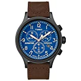 Timex Men's TW4B15900 Expedition Scout Chrono Brown/Black/Blue Leather Strap Watch
