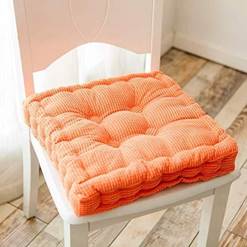 Colore A Tinta Unita Corduroy Cuscini del Sedile,Addensare Cuscino Pad Sedia,Compert Morbido Posto A Sedere per Casa Ufficio Sedia da Pranzo Indoor Outdoor-Arancione 45x45cm