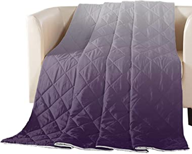 T&H XHome Luxury Quilted Comforter Bedspread-Thin Soft Cozy,Gray-Purple Gradient Pattern Reversible Stitched Summer Light