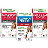 Diabetes Doctor Extra Strength A1C Triple Pack - Blood Sugar 24 Hour Daily Support Extra Strength Plus 2 Carb & Sugar Blocker - Blood Sugar Level Support and Insulin Support